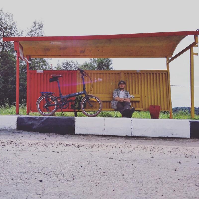 Со складным байком на конечной остановке автобуса 24 Солнечногорск-Тараканово