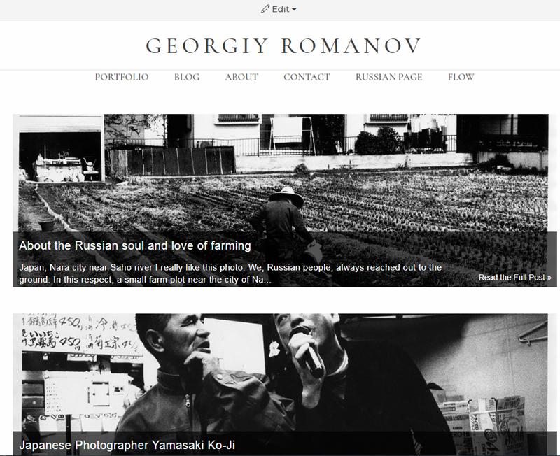 Вид моего англоязычного блога на zenfolio