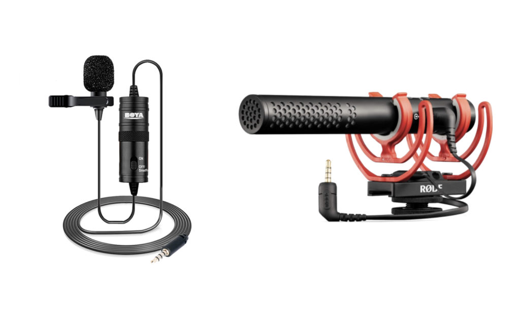Микрофон типа петличка слева и типа пушка справа